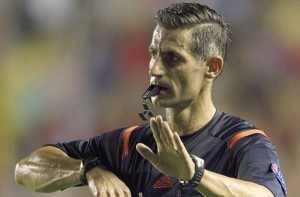 Referee Anastasios Sidiropoulos during 15th UEFA European Championship Qualifying Round match Septe