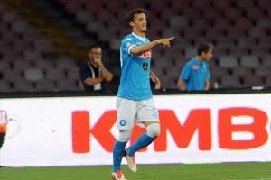 Napoli-Lazio 5-0  Gabbiadini esulta