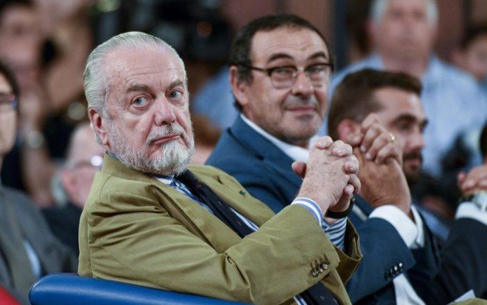 """De Laurentiis: """"Proposto il rinnovo del contratto a Sarri, quando vorrà noi siamo qui"""""""